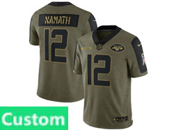 Mens Women Youth Nfl New York Jets Custom Made Olive Green 2021 Salute To Service Limited Nike Jersey