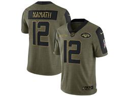 Mens Nfl New York Jets #12 Joe Namath Olive Green 2021 Salute To Service Limited Nike Jersey