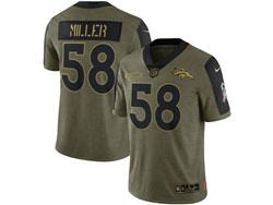 Mens Nfl Denver Broncos #58 Von Miller Olive Green 2021 Salute To Service Limited Nike Jersey
