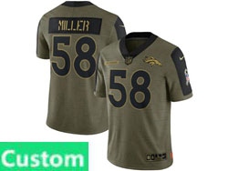 Mens Women Youth Nfl Denver Broncos Custom Made Olive Green 2021 Salute To Service Limited Nike Jersey