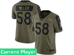 Mens Women Youth Nfl Denver Broncos Current Player Olive Green 2021 Salute To Service Limited Nike Jersey
