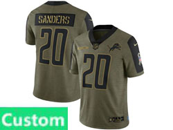 Mens Women Youth Nfl Detroit Lions Custom Made Olive Green 2021 Salute To Service Limited Nike Jersey