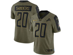 Mens Nfl Detroit Lions #20 B.sanders Olive Green 2021 Salute To Service Limited Nike Jersey