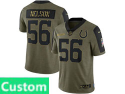 Mens Women Youth Nfl Indianapolis Colts Custom Made Olive Green 2021 Salute To Service Limited Nike Jersey