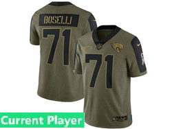 Mens Women Youth Nfl Jacksonville Jaguars Current Player Olive Green 2021 Salute To Service Limited Nike Jersey