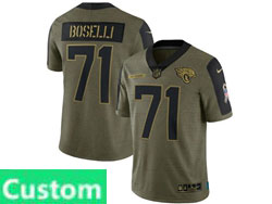 Mens Women Youth Nfl Jacksonville Jaguars Custom Made Olive Green 2021 Salute To Service Limited Nike Jersey