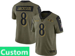 Mens Women Youth Nfl Baltimore Ravens Custom Made Olive Green 2021 Salute To Service Limited Nike Jersey