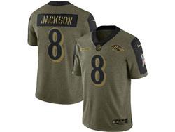 Mens Nfl Baltimore Ravens #8 Lamar Jackson Olive Green 2021 Salute To Service Limited Nike Jersey