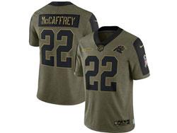 Mens Nfl Carolina Panthers #22 Christian Mccaffrey Olive Green 2021 Salute To Service Limited Nike Jersey