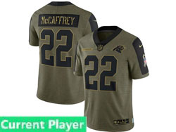 Mens Women Youth Nfl Carolina Panthers Current Player Olive Green 2021 Salute To Service Limited Nike Jersey