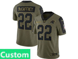 Mens Women Youth Nfl Carolina Panthers Custom Made Olive Green 2021 Salute To Service Limited Nike Jersey