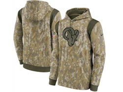 Mens Women Youth Nfl Los Angeles Rams Camo 2021 Salute To Service Pullover Hoodie Nike Jersey