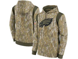 Mens Women Youth Nfl Philadelphia Eagles Camo 2021 Salute To Service Pullover Hoodie Nike Jersey