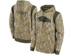 Mens Women Youth Nfl Baltimore Ravens Camo 2021 Salute To Service Pullover Hoodie Nike Jersey