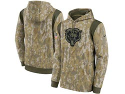 Mens Women Youth Nfl Chicago Bears Camo 2021 Salute To Service Pullover Hoodie Nike Jersey