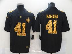 Mens Nfl New Orleans Saints #41 Alvin Kamara Black Leopard Vapor Untouchable Limited Nike Jersey