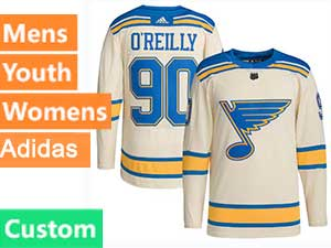 Mens Women Youth Adidas St.louis Blues Custom Made Cream 2022 Winter Classic Authentic Player Jersey