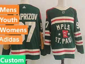 Mens Women Youth Adidas Minnesota Wild Custom Made Green 2022 Winter Classic Authentic Player Adidas Jersey