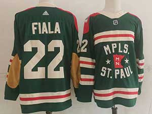 Mens Nhl Minnesota Wild #22 Kevin Fiala Green 2022 Winter Classic Authentic Player Adidas Jersey