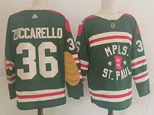 Mens Nhl Minnesota Wild #36 Mats Zuccarello Green 2022 Winter Classic Authentic Player Adidas Jersey
