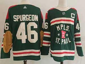 Mens Nhl Minnesota Wild #46 Jared Spurgeon Green 2022 Winter Classic Authentic Player Adidas Jersey