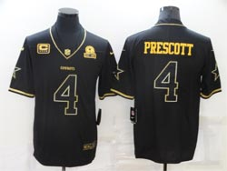 Mens Nfl Dallas Cowboys #4 Dak Prescott Black Retro Gold Name Vapor Untouchable Limited Nike Jersey