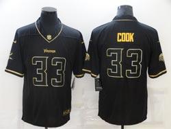 Mens Nfl Minnesota Vikings #33 Dalvin Cook Black Retro Gold Name Vapor Untouchable Limited Nike Jersey
