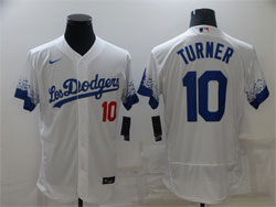Mens Mlb Los Angeles Dodgers #10 Justin Turner White 2021 City Connect Flex Base Nike Jersey