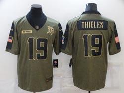 Mens Nfl Minnesota Vikings #19 Adam Thielen Olive Green 2021 Salute To Service Limited Nike Jersey