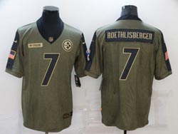 Mens Nfl Pittsburgh Steelers #7 Ben Roethlisberger Olive Green 2021 Salute To Service Limited Nike Jersey