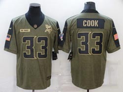 Mens Nfl Minnesota Vikings #33 Dalvin Cook Olive Green 2021 Salute To Service Limited Nike Jersey