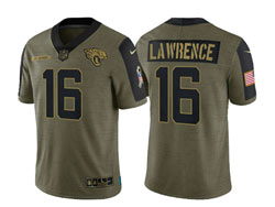 Mens Nfl Jacksonville Jaguars #16 Trevor Lawrence Olive Green 2021 Salute To Service Limited Nike Jersey