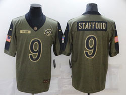 Mens Nfl Los Angeles Rams #9 Matthew Stafford Olive Green 2021 Salute To Service Limited Nike Jersey