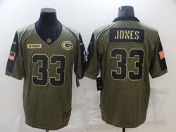 Mens Nfl Green Bay Packers #33 Aaron Jones Olive Green 2021 Salute To Service Limited Nike Jersey