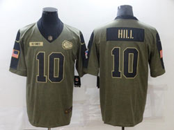 Mens Nfl Kansas City Chiefs #10 Tyreek Hill Olive Green 2021 Salute To Service Limited Nike Jersey