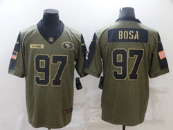 Mens Nfl San Francisco 49ers #97 Nick Bosa Olive Green 2021 Salute To Service Limited Nike Jersey