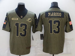 Mens Miami Dolphins #13 Dan Marino Olive Green 2021 Salute To Service Limited Nike Jersey