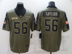 Mens Nfl New York Giants #56 Lawrence Taylor Olive Green 2021 Salute To Service Limited Nike Jersey