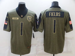 Mens Nfl Chicago Bears #1 Justin Fields Olive Green 2021 Salute To Service Limited Nike Jersey