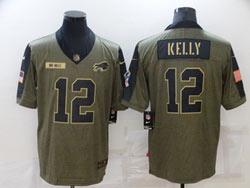 Mens Nfl Buffalo Bills #12 Jim Kelly Olive Green 2021 Salute To Service Limited Nike Jersey