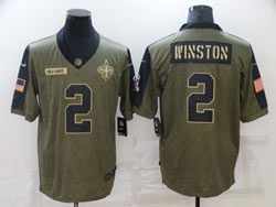 Mens Nfl New Orleans Saints #2 Jameis Winston Olive Green 2021 Salute To Service Limited Nike Jersey