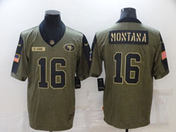 Mens Nfl San Francisco 49ers #16 Joe Montana Olive Green 2021 Salute To Service Limited Nike Jersey