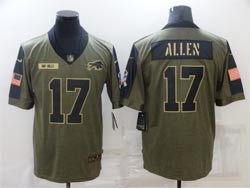 Mens Nfl Buffalo Bills #17 Josh Allen Olive Green 2021 Salute To Service Limited Nike Jersey