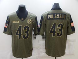 Mens Nfl Pittsburgh Steelers #43 Troy Polamalu Olive Green 2021 Salute To Service Limited Nike Jersey