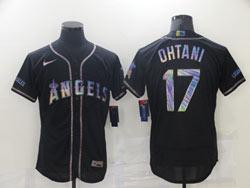 Mens Mlb Los Angeles Angels #17 Shohei Ohtani Black Colorful Edition Flex Base Nike Jersey