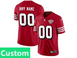 Mens Women Youth Nfl San Francisco 49ers Red Custom Made 75th Anniversary Color Rush Vapor Untouchable Limited Nike Jersey