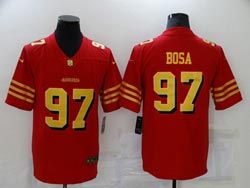 Mens Nfl San Francisco 49ers #97 Nick Bosa Red Gold Number Vapor Untouchable Limited Nike Jersey
