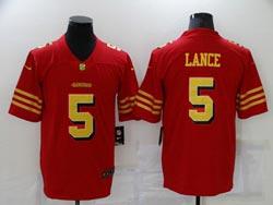 Mens Nfl San Francisco 49ers #5 Trey Lance Red Gold Number Vapor Untouchable Limited Nike Jersey