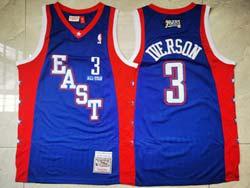 Mens Nba All Star Philadelphia 76ers #3 Allen Iverson Blue Mitchell&ness Hardwood Classics Swingman Jersey