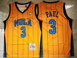 Mens Nba New Orleans Hornets #3 Chris Paul Yellow 2010-11 Mitchell&ness Hardwood Classics Swingman Jersey